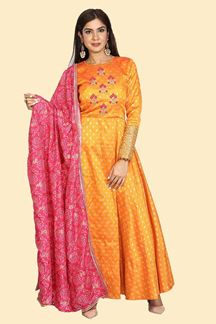 Picture of Unique Orange & Maroon Colored Partywear Embroidered Silk Anarkali Suit