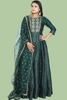 Picture of Gorgeous Bottle green suit Floor Length Anarkali suit
