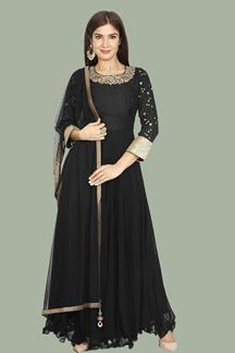 Picture of Mesmerizing Black Designer Georgette Anarkali Style