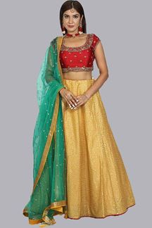 Picture of Yellow & Red Wedding Designer Lehenga Choli