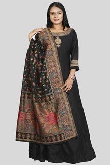 Picture of Raw Silk  Black Colored Floor length Anarkali Suit
