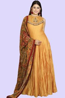Picture of Designer Mustard Yellow Colored  Anarkali Suit