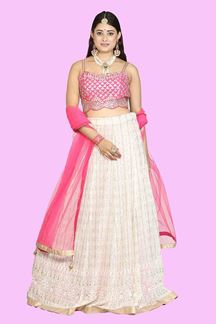 Picture of Stunning Designer Pink & Beige Colored Lehenga choli