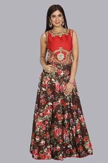 Picture of Prominent Red & Brown Colored Partywear Floral Printed Gown