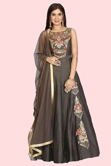 Picture of Brown Color Raw Silk Anarkali Suit