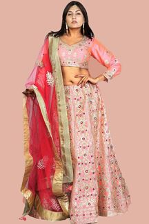 Picture of Pink Colored Designer Silk Lehenga choli