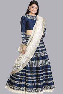 Picture of Navy Blue- OffWhite Designer Lehenga Choli