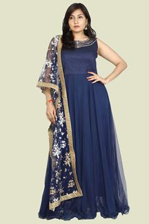 Picture of Blue Colored Designer Floor Length Anarkali Suit