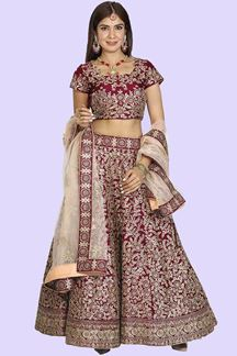 Picture of Raw Silk Magenta Colored Designer  Lehenga Choli