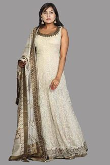 Picture of Designer Beige Color Floor Length Anarkali Suit