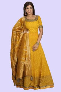Picture of Mustard Colored Floor Length Georgette Anarkali Suit