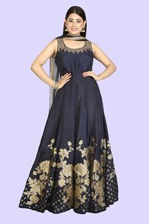 Picture of Blue Color raw silk Anarkali Suit