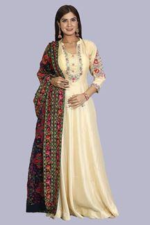Picture of Beige Colored Floor Length Anarkali Suit
