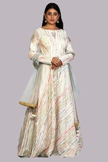 Picture of White Colored Printed Anarkali Suit