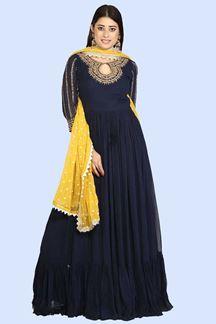 Picture of Navy Blue Dazzling  Floor Length Anarkali Suit