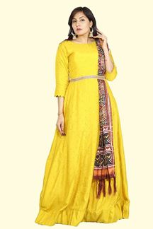 Picture of Mustard Silk Anarkali Suit