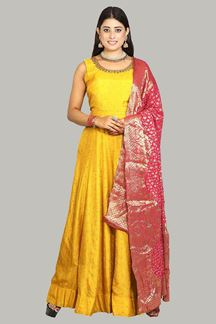 Picture of Floor Length Mustard Yellow Color Designer Suit