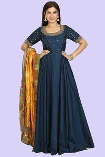 Picture of Navy Blue Stylish Anarkali Suit
