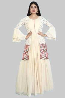 Picture of Floor Length Beige Colored Anarkali Jacket Style Suit