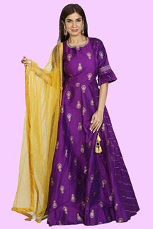 Picture of Purple Colored Designer Floor Length Suit