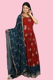 Picture of Rust Anarkali Suit