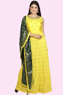 Picture of Lemon Yellow Anarkali Suit With Banarasi Dupatta