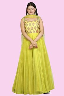 Picture of Attractive Parrot Green Color Anarkali Suit