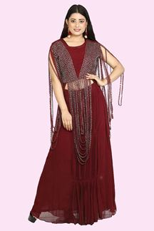 Picture of Maroon Color Crop Top With Jacket & Skirt