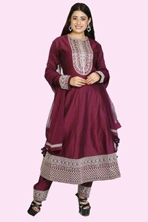 Picture of Elegant Wine Colored Anarkali Suit With Pant