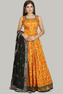 Picture of Yellow Colored Patola Silk ANARKALI SUIT