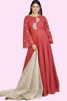 Picture of Pleasant Rust Color Floor Length Anarkali Suit