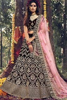 Picture of Gorgeous Maroon Colored Velvet lehenga Choli