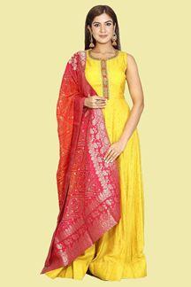 Picture of Mustard Colored Designer Floor Length Anarkali Suit