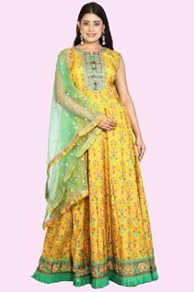 Picture of Yellow And Green Anarkali Suit With Dupatta