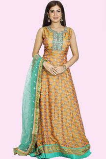 Picture of Intricate Orange Green Colored Patola Printed Silk Anarkali Suit
