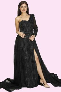 Picture of Graceful Black Colored Party Wear Gown