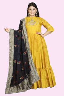 Picture of Hypnotic Mustard Yellow Colored Party Wear Anarkali Suit