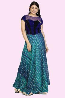 Picture of Sizzling Blue Velvet-Net Anarkali Suit