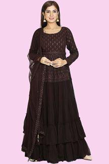 Picture of Floor Length Anarkali Dress In Brown Color