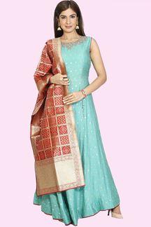 Picture of Green Colored Banarasi Kosa Silk Anarkali Suit