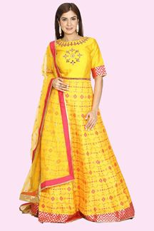Picture of Breathtaking Yellow & Pink Colored Partywear Silk  Anarkali Suit
