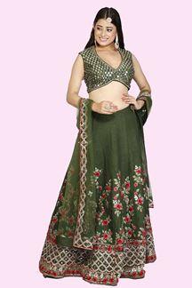 Picture of Mehendi Green Colored Raw Silk Embroidery Lehenga Choli