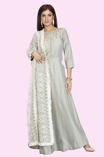 Picture of Refreshing Grey Colored Silk Anarkali Suit