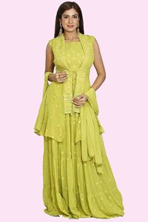 Picture of Parrot Green Color Anarkali Suit With Short Jacket