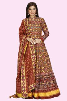 Picture of Exotic Maroon & Yellow Colored Partywear Patola Printed Silk Gown