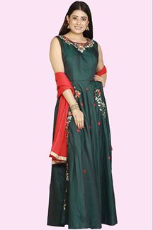 Picture of Attractive Bottle green Color Silk  Anarkali Suit