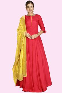Picture of Remarkable Pink & Yellow Colored Designer Anarkali Suit