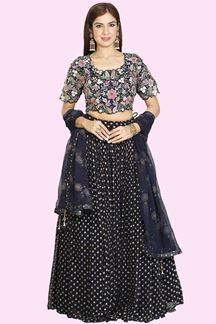 Picture of Hypnotic Navy Blue Colored Partywear Embroidered Lehenga Choli.