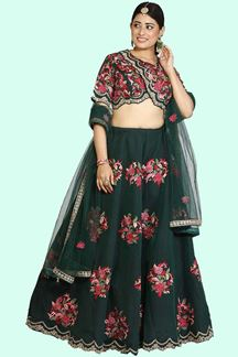 Picture of Designer Bottle Green Colored Embroidered Lehenga Choli