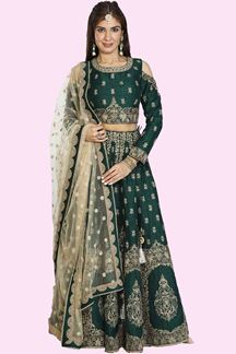 Picture of Refreshing Bottle Green Colored Designer Silk Lehenga Choli